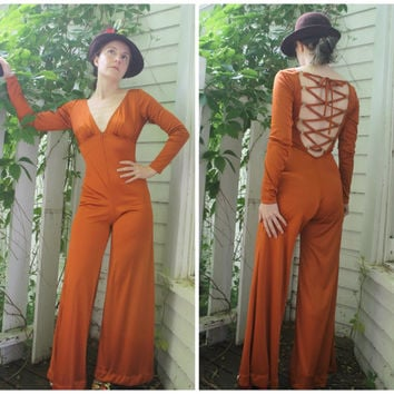 Lace Up Back Jumpsuit 70s Disco Fredericks Palazzo Vintage XS