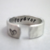 Hammered Secret Message Ring - FOREVER- Hand Stamped Aluminum Ring - Customizable