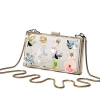 Womens Clear Purses Acrylic Box Clutch Colorful Stick Flower Transparent Handbags