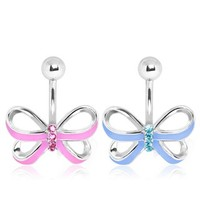 316L Surgical Steel Enamel Ribbon Bow with Gem Detail Navel Ring