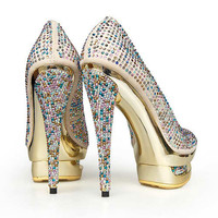 Colorful Diamond Platform Pumps [TWL0412010] - $88.99 : wedding fashion, wedding dress, bridal dresses, wedding shoes