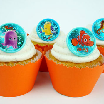 Finding Nemo Blue Bubbles cupcake toppers and Orange adjustable cupcake wrappers combo - SW520
