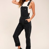 Free People Boyfriend Washed Black High-Waisted Overalls
