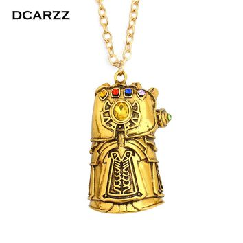 Infinity War Gauntlet Pendant Avengers Inspired Thanos Cosplay Jewelry 6 Colors Infinity Stones Crystals Necklace Drop Shipping