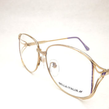 Womens Eyeglasses, Gold Metal Lavender Purple Tortoise Shell, Vintage Frames