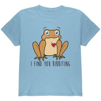 LMFCY8 Toad I Find You Riveting Funny Pun Valentine's Day Youth T Shirt