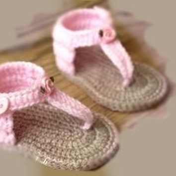 Crochet Sandals Pink Beige Baby Shoes