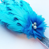 Flapper Headband - Great Gatsby Headpiece - Turquoise Feather Headband Photo Prop - Silver Headband - Glitter Headband for Teen -