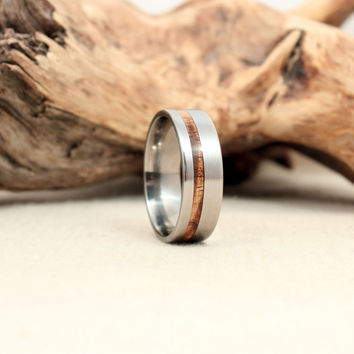 Titanium and Koa Wooden Ring Titanium Ring