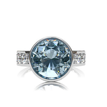 2.22ct Aquamarine engagement ring, white sapphire, engagement, bezel, white gold, light blue ring, solitaire, sapphire ring, blue engagement