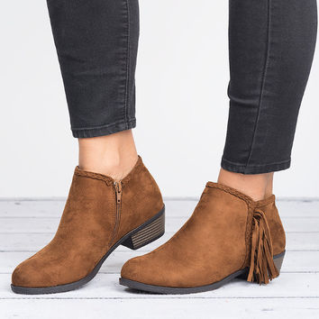 Side Fringe Booties - New Tan