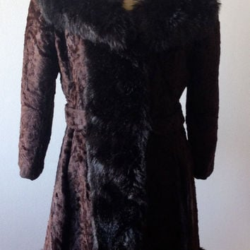 SALE -- Black Brown 1970s Faux Fur Coat Princess Russian Spy M