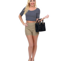 Retro Style Taupe High Waist Ponte Stretch Shorts
