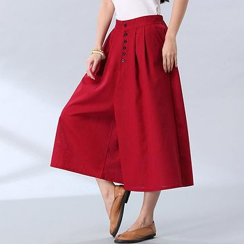 Free delivery 2017 spring new large size women's clothing art linen wide leg pants loose casual skirt pants women pants
