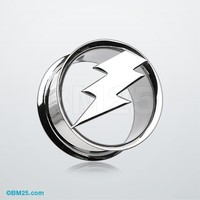 Electro Thunder Hollow Steel Double Flared Ear Gauge Plug