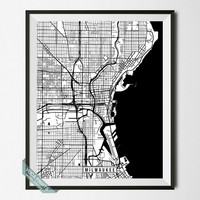 Milwaukee Print, Wisconsin Poster, Milwaukee Poster, Milwaukee Map, Wisconsin Print, Street Map, Wisconsin Map, Wall Art