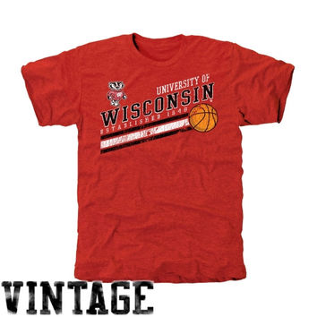 Wisconsin Badgers Retro Stripes Tri-Blend T-Shirt - Cardinal