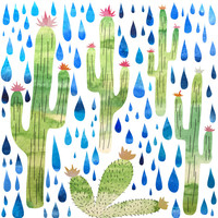 Watercolor Cactus with Raindrops Canvas Print by Natalievmason | Society6