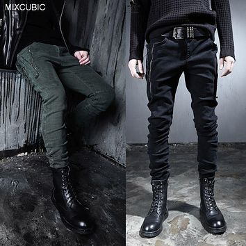 MIXCUBIC spring England style yuppie Decadent washing harem pants men Personalized Zipper harem pants for men trousers,M-XXL