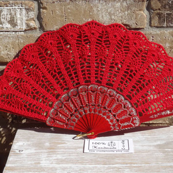 Crochet HAND FAN in Red, Wedding Accessory, Lolita, Bride Bouquet, Photo prop, Made in USA