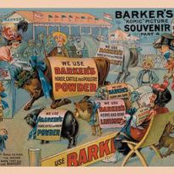Barker's Horse, Cattle, and Poultry Powder: Fine art canvas print (12 x 18)