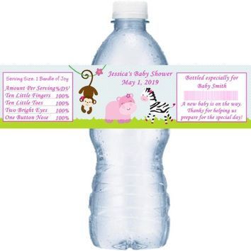 21 Safari Girl Baby Shower Water Bottle Labels