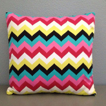 Multi colored Chevron Decorative Pillow Cover 18in Zig Zag Accent Pillow Retro Pink White Yellow Teal Black Toss Pillow Modern Pillow Throw