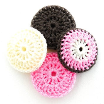 Crochet Dish Scrubbies - Set of 4 - Cream, Pink and Brown Nylon Pot Scrubber