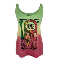 Bob Marley - One Love Collage Tie-Dye Juniors Tank Top