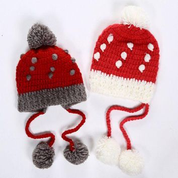 ICIKH3L Cute Fashion Multicolor Strawberry Tassel Hairball Manual Knit Beanie Hat Winter Accessories