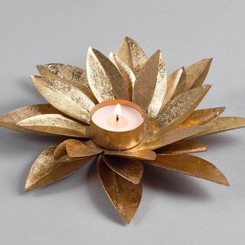 Gold Lotus Tea Light Candle Holder