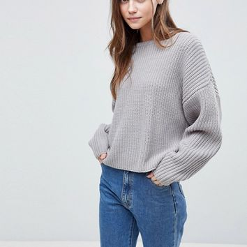 ASOS Chunky Sweater In Crop With Volume Sleeve at asos.com