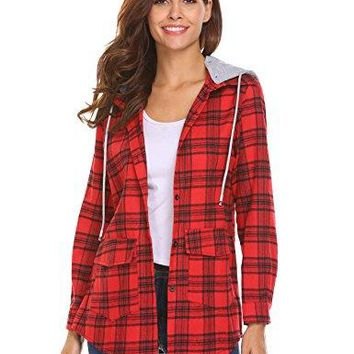 Beyove Womens Casual Long Sleeve Boyfriend Plaid Button Down Flannel Shirts Tops Jacket With Detachable Hooded