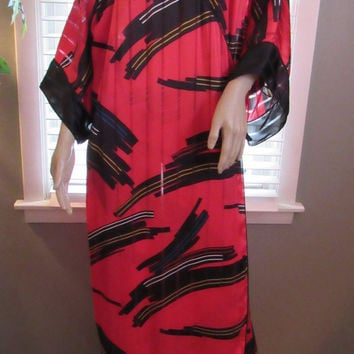 70s 80s Boho Chic Kimono Festival Clothing / Mary McFadden Clothing / Vtg Caftan / Angel Sleeves Caftan / Abstract Design Kimono Unisex Robe