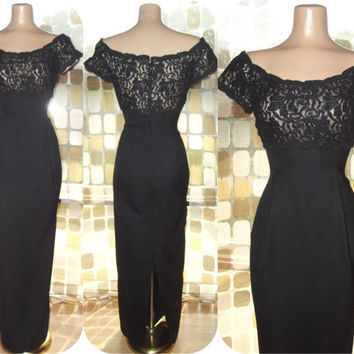 Vintage 60s Black Lace Nude Illusion Wiggle Cocktail Gown Long Formal Extreme Hourglass Dress Size 8 House of Bianchi