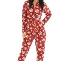 Del Rossa Women's Fleece Onesuit, Hooded Footed Jumpsuit Pajamas, Large Red Snowflake (A0322P34LG)