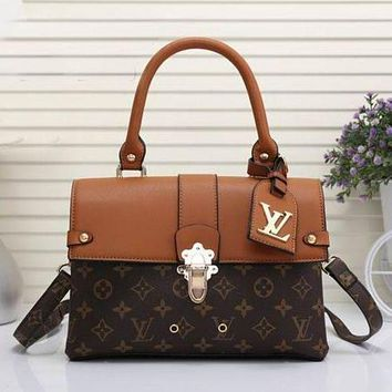 LV Louis Vuitton Stylish Women Leather Square Backpack Bookbag Daypack Satchel Coffee LV Pattern+Brown I