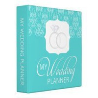 Tiffany Teal Damask Wedding Planner Binder