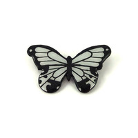 """Small black and white butterfly brooch, """"Papilio dardanus"""" butterfly brooch, eco-friendly painted plastic butterfly brooch (recycled CD)"""