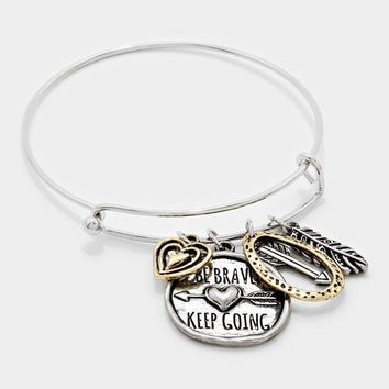 """Be Brave, Keep Going"" Arrow & Heart Charm Bracelet"