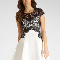 Sexy Hollow Out Black Lace Splice Cotton Dress