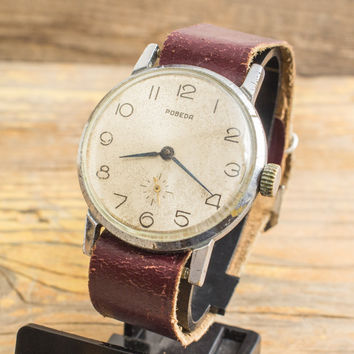 Vintage Pobeda mens watch, vintage russian watch ussr cccp