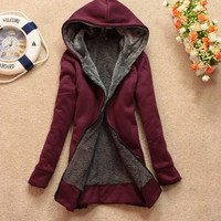 Lady Korean Winter Cardigan Hoodies Outerwear Women Parkas With Hat Girls Warm Thicken Cotton Collar Jacket  [7672000966]