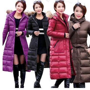 2016 winter duck down jacket women long coat parkas thickening Female soft Warm Clothes collar High Quality