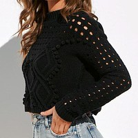 Fashion Hollow out Sweaters Women Casual Thin Short Knit Tops Female High Street Chic Jumpers