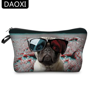 DAOXI Cosmetic Bags 3D Animal Printing Glasses Dog Fashion for Travell Female Makeup Storage 10027