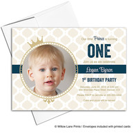 boys 1st birthday Invitations boys | prince theme birthday | navy and gold invitations | 1st birthday invites - WLP00305