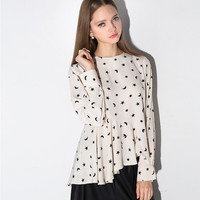 Apricot Star and Moon Print Long Sleeve Flounced Blouse