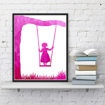 Nursery decor, Girl on swing, Baby room decor, Kids wall art, Woodland nursery, Pink watercolor, Downloadable, Baby shower, Digital print