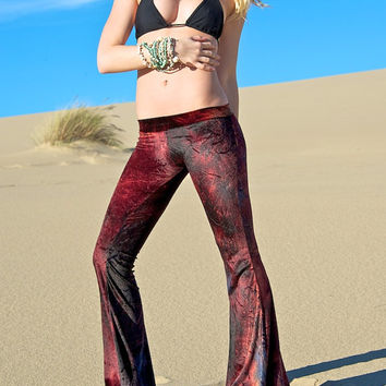 VELVET 70'S tie dye velour free people  fashion hippie chic boho dance yoga festival burning man gypsy flare bell bottom pants (or leggings)